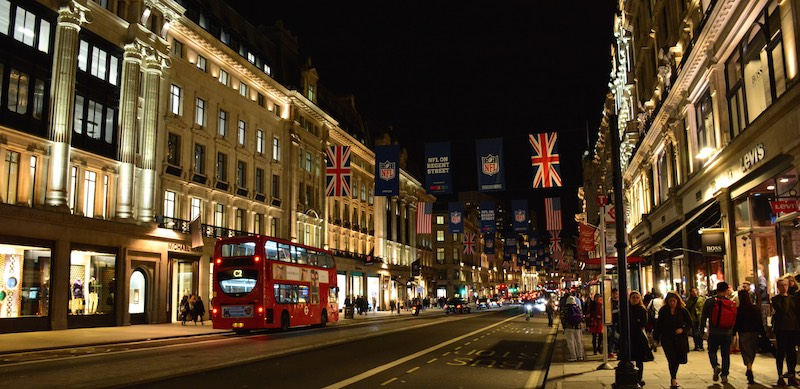 Oxford Street London by Night - Panoramic View