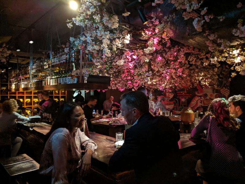 Roka London Restaurant - downtairs bar and cherry blossoms