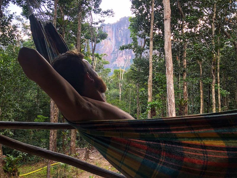 Camping next to Angel Falls