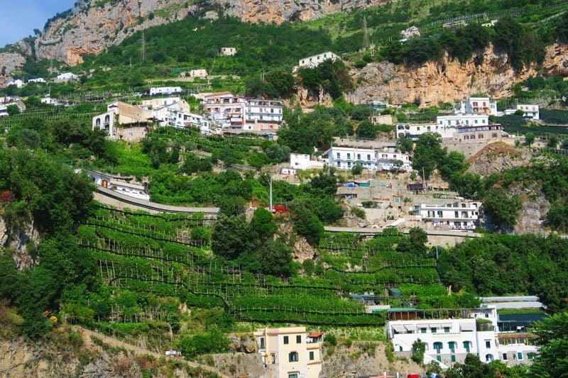 Amalfi coast scenery - villages and lemon groves