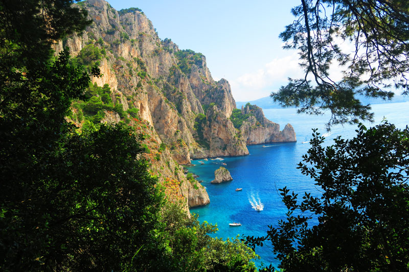 Capri sea cliffs on hike