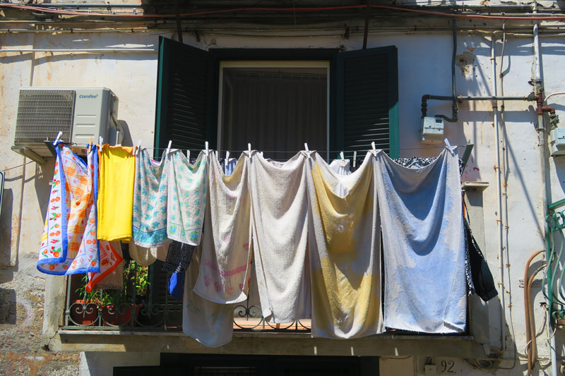 Naples historic center - laundry hanging from balcony