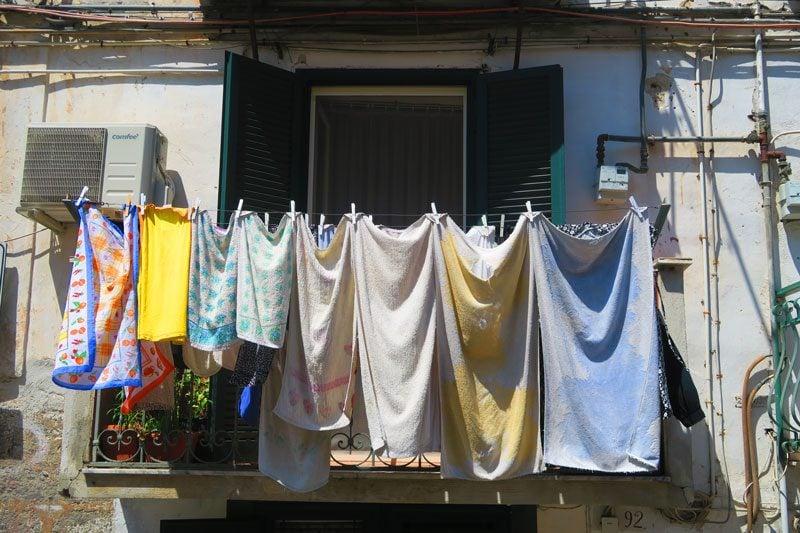 Naples historic center - laundry hanging from balcony