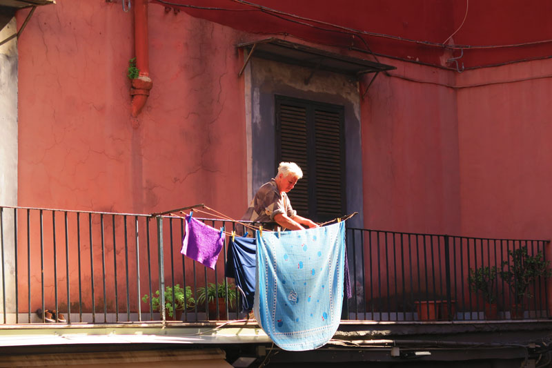 Naples local hanging laundry - Naples old city