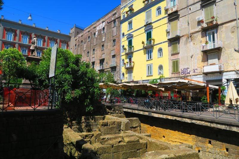 Roman ruins in Piazza Bellini Naples