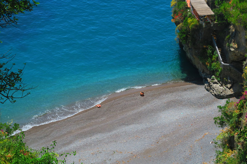 Secluded beach Amalfi Coast near Positano