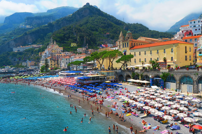 View of beach in Amalfi Town