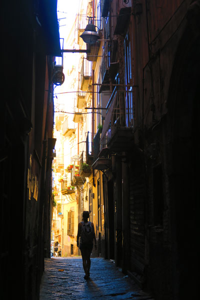 alley in Naples historic center