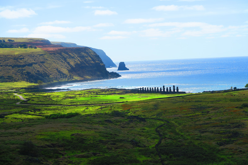 Ahu Tongariki from Rano Raraku Easter Island