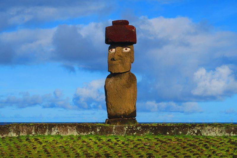 Moai statue in Ahu Tahai Easter Island