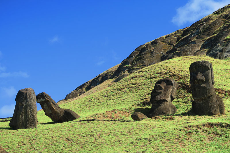 Moai statues toppled in Rano Raraku Querry Easter Island 2