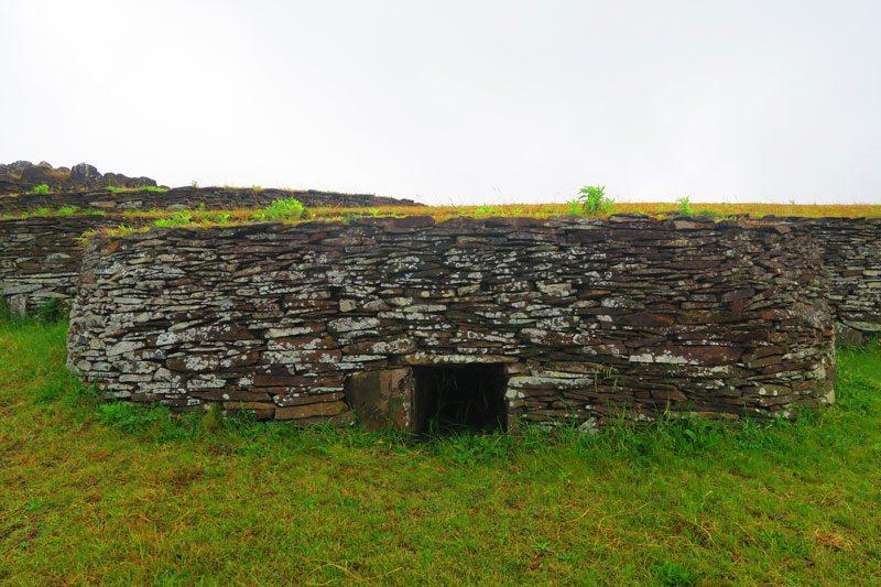 Orongo village round stone houses Easter Island