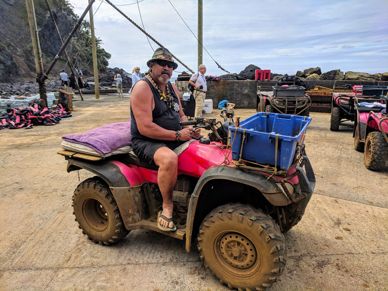 Paul Warren local on quad bike in - Pitcairn Island