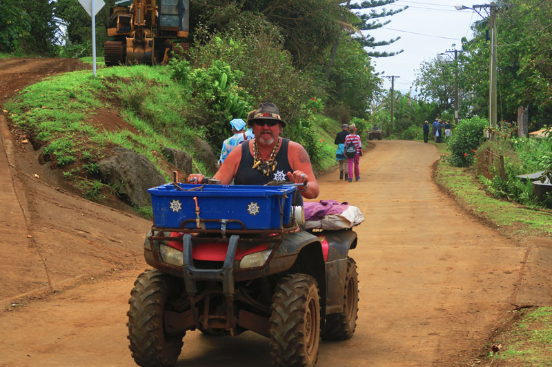 Local Pitcairn Island resident on quad bike