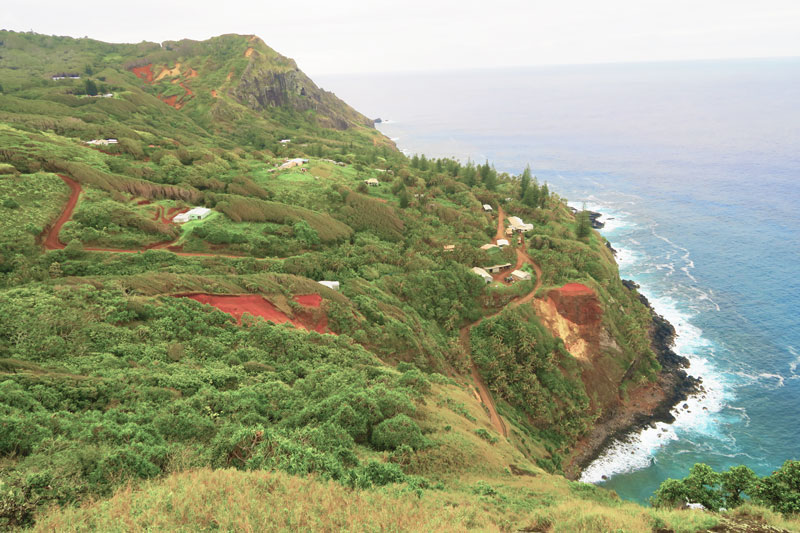 View of Adamstown from Ship's Landing Point lookout Pitcairn Island