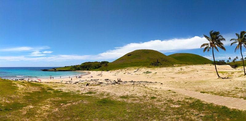 Anakena Beach Easter Island panoramic view