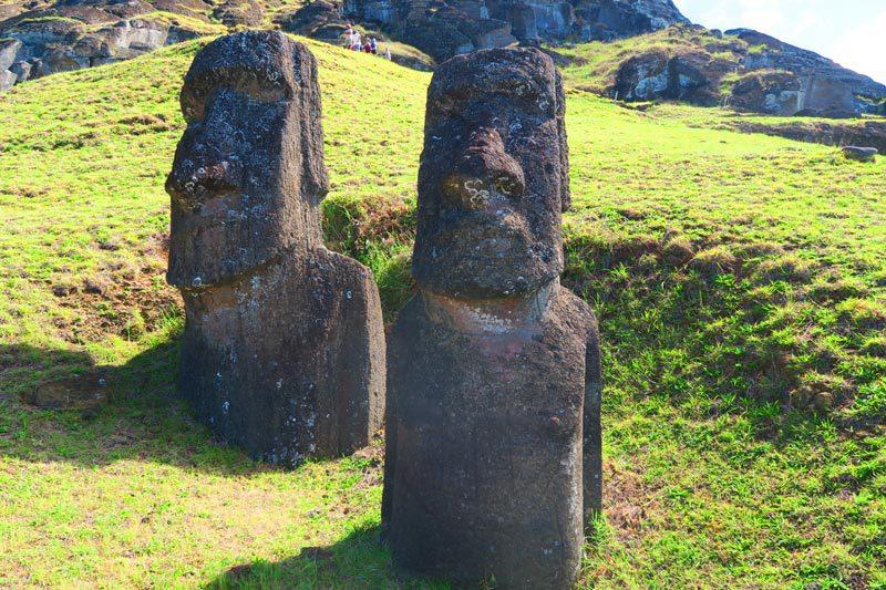 Ke Kona he Roa Moai with european ship Easter Island Rano Raraku