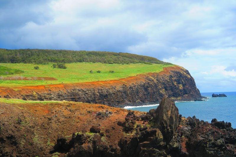 View of Rano Kau from Ana Kai Tangata Cannibal Cave Easter Island