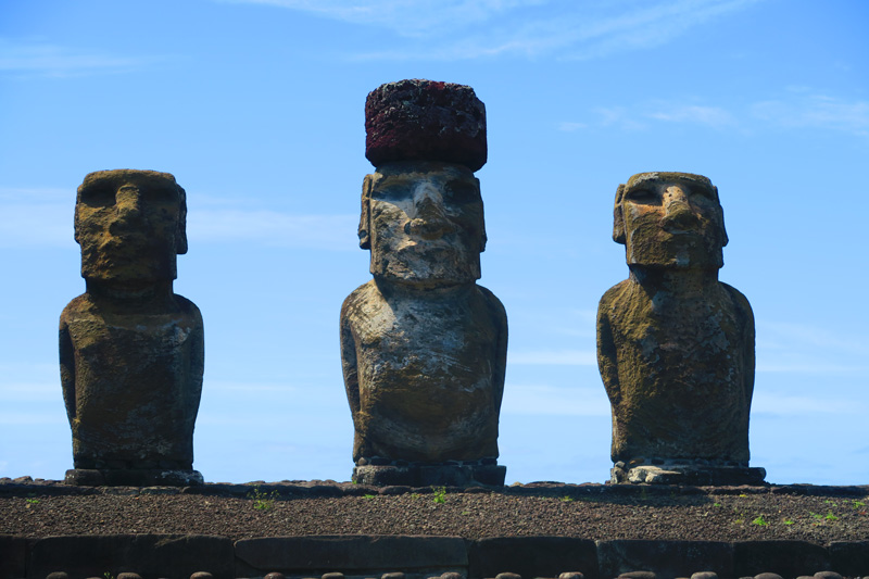 moai in ahu tongariki Easter Island