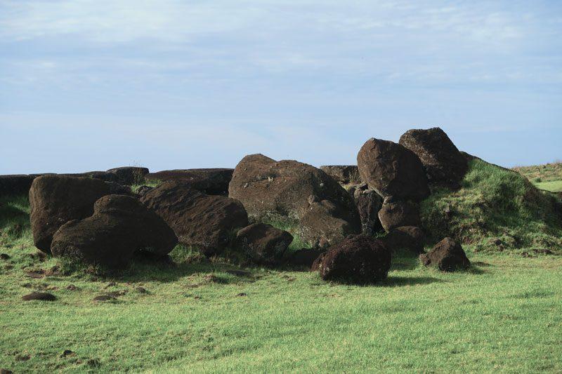 toppled moai in Ahu Tahira Easter Island