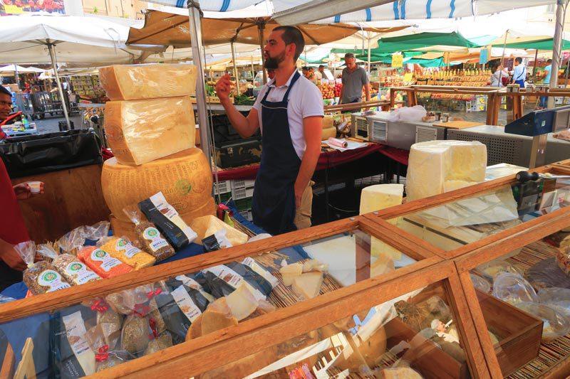 Cheese stand in the Campo de Fiori Market - Rome