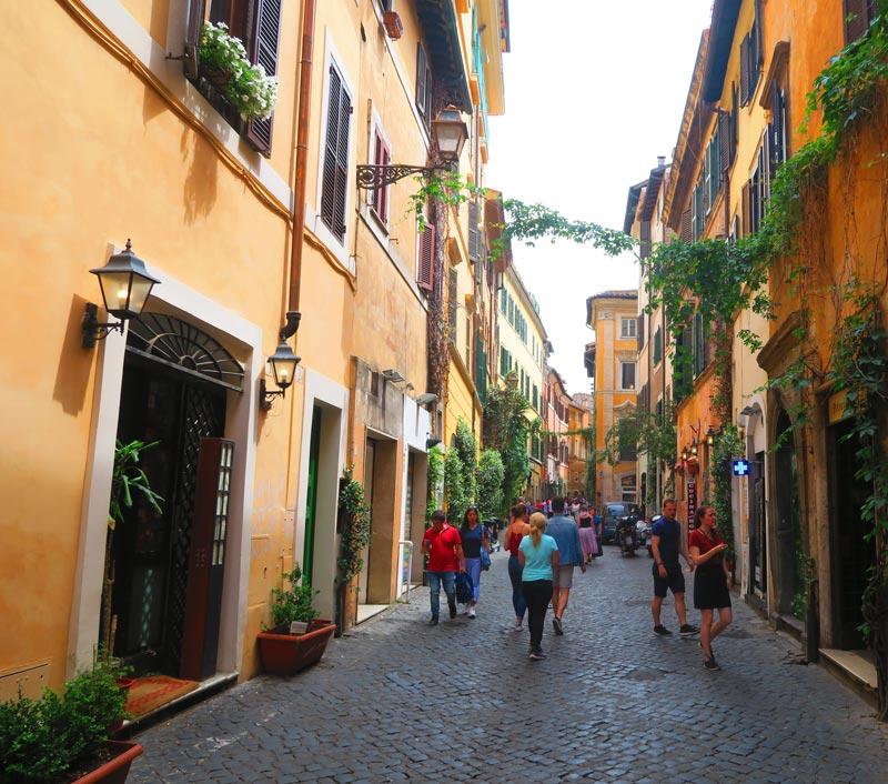 Cobblestone lane in Trastevere Rome