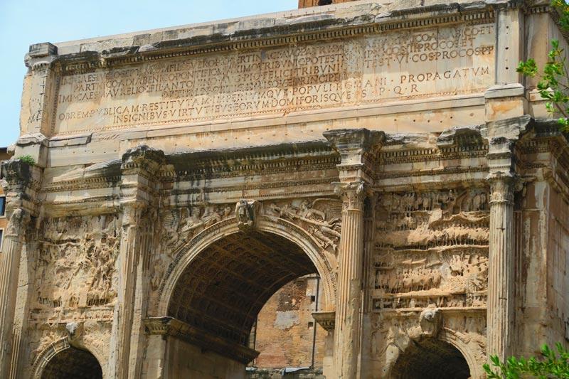 Inscriptions on ruins at Roman Forum - Rome