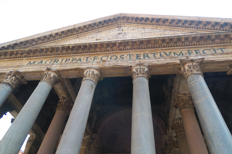 Latin inscription on the Pantheon Rome