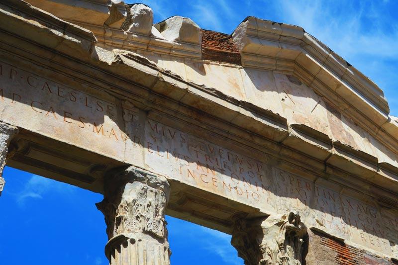 Portico of Octavia - Roman ruins - latin inscription
