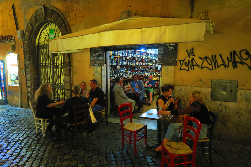 Rome wine bar at night