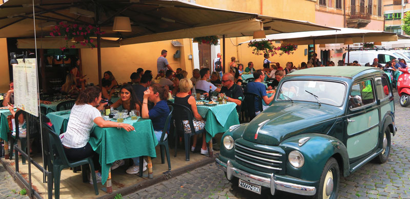 Trastevere - 5 days in Rome - panoramic view of restaurant