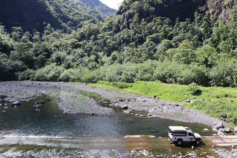 Papenoo Valley Tahiti French Polynesia - crossing river