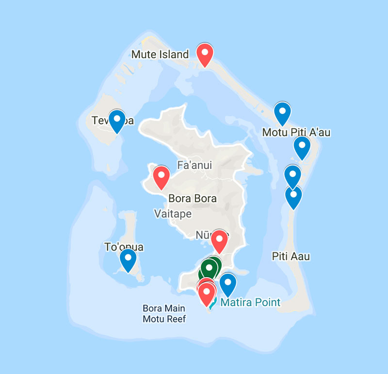 Map of the best places to stay in Bora Bora