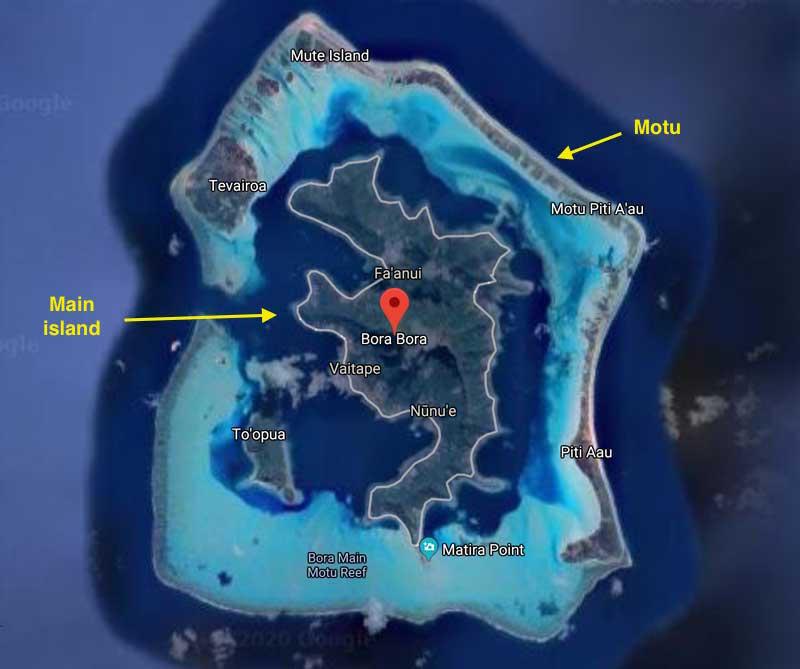 Where to stay in Bora Bora - satellite view