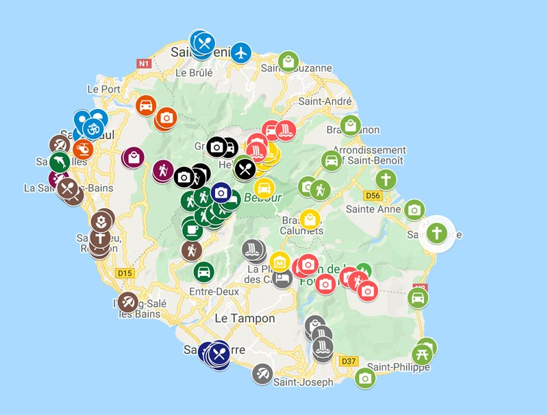 2 weeks in Reunion Island travel guide map