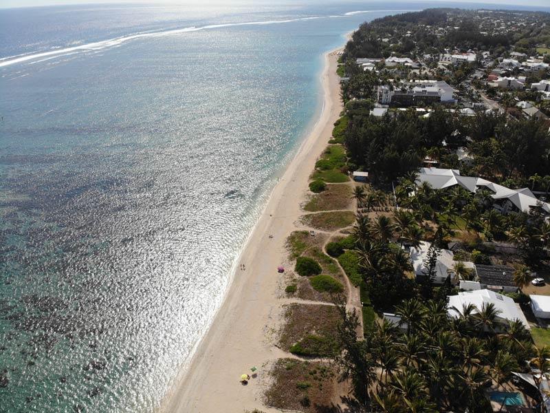 Aerial view - Plage de la Salines - Reunion Island