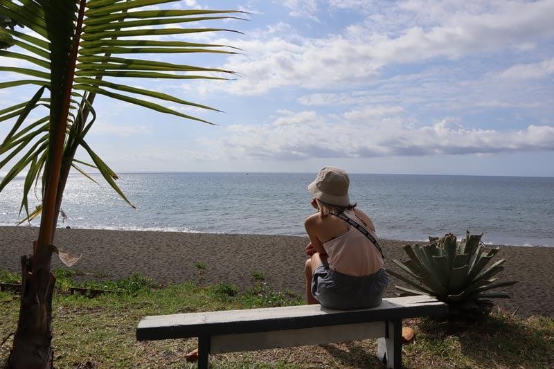 Black sand beach in St Paul Reunion Island