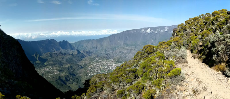 Cirque de Cilaos panoramic view from piton des neiges trail - Reunion Island