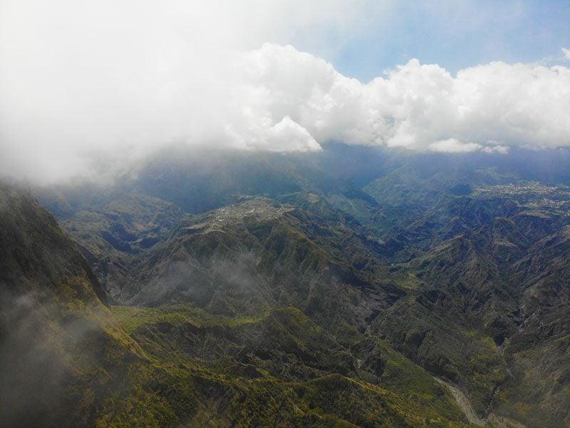 Clouds over cirque de cilaos from La Fenetre des Makes scenic lookout - Reunion Island