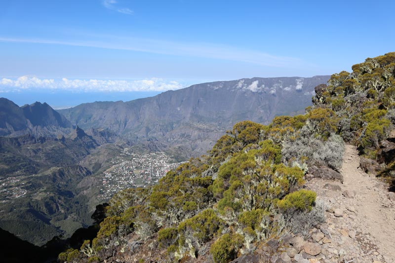 Hiking down from Piton des Neiges Summit - Reunion Island - trail and cilaos