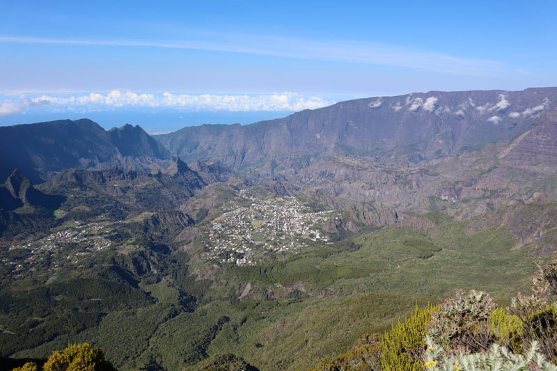 Hiking down from Piton des Neiges Summit - Reunion Island - view of Cirque de Cilaos