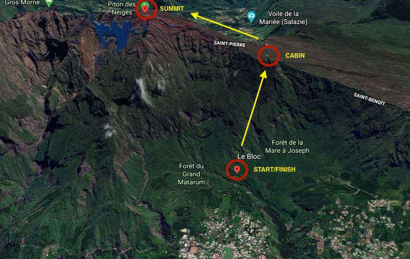 Map of hike to Piton des Neiges - Reunion Island
