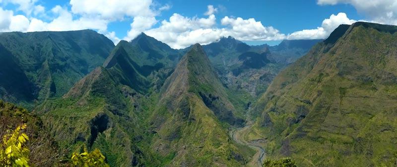 Panoramic view Cap Noir scenic lookout Reunion Island