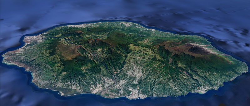 Reunion Island satellite image map