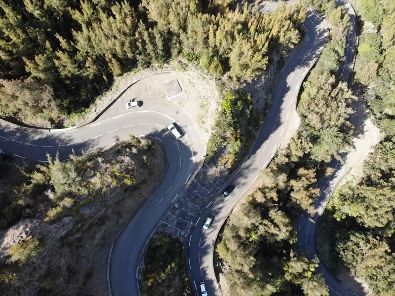 Scenic Drive to Cilaos Reunion Island - sharp turns
