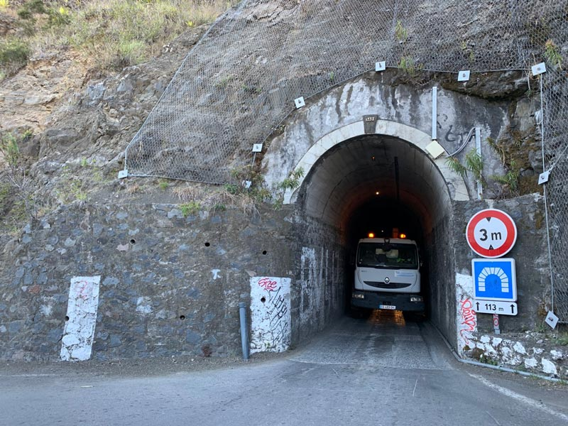 Scenic Drive to Cilaos Reunion Island - single lane tunnel