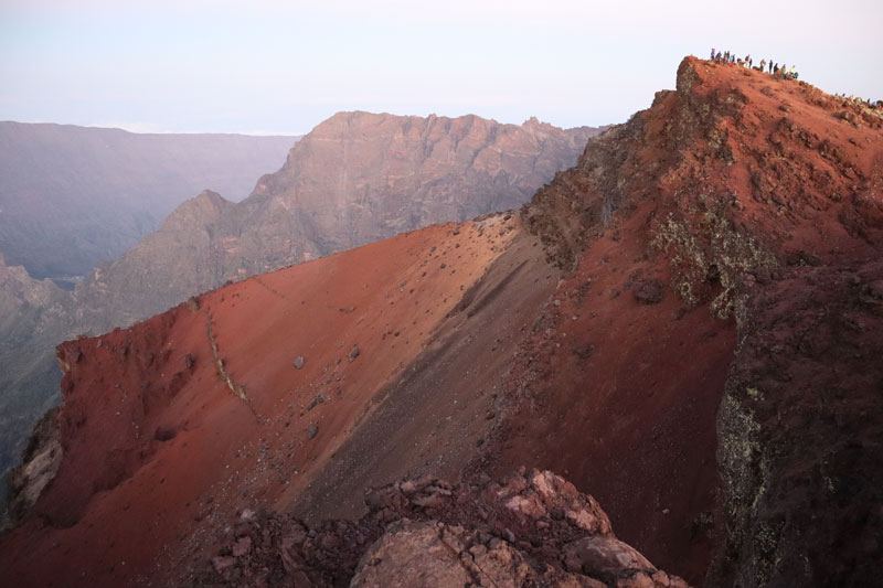 Summit of Piton des Neiges Hike - Reunion Island - Hikers at summit