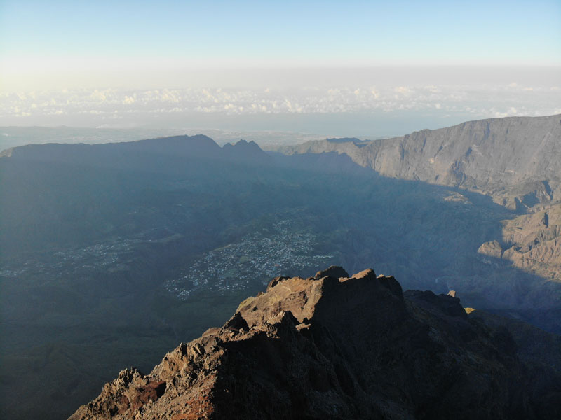 Summit of Piton des Neiges Hike - Reunion Island - Voew of Cilaos from Summit