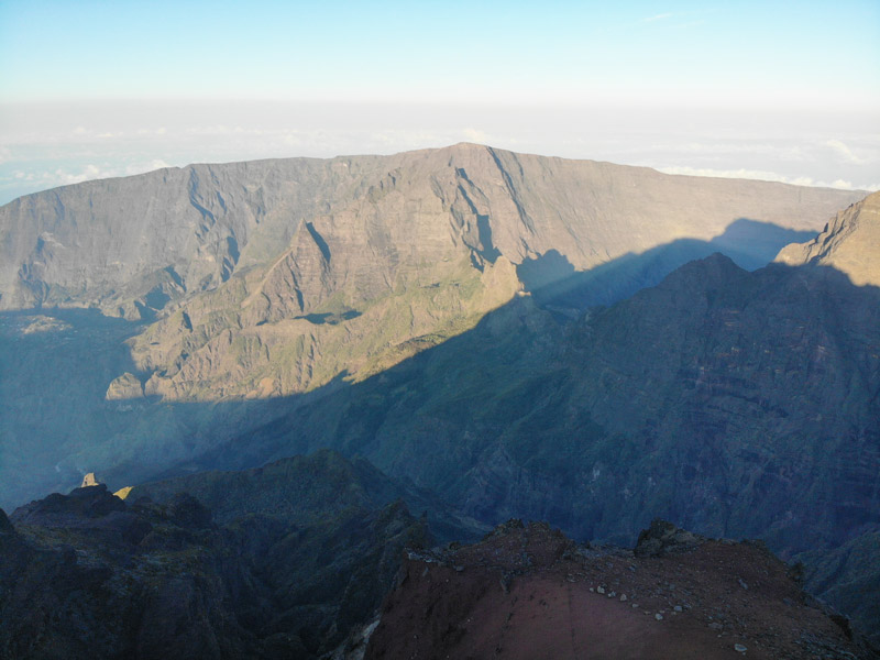 Summit of Piton des Neiges Hike - Reunion Island - view towards Grand Benare