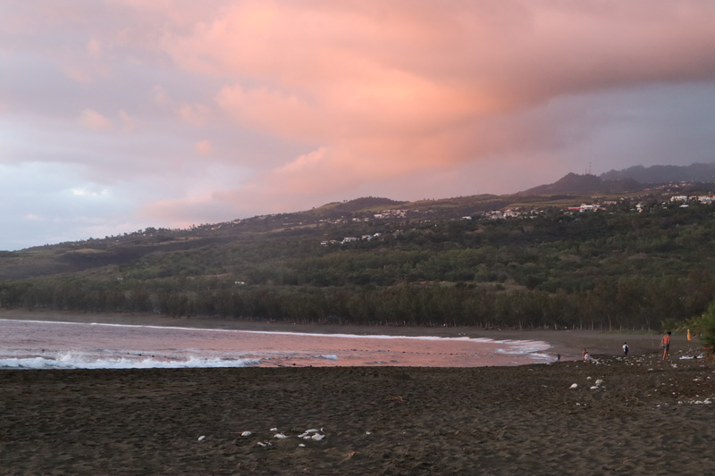 Sunset in Etang-Sale les Bains - Reunion Island black sand beach